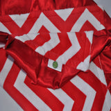 Red Chevron Blanket with satin trim