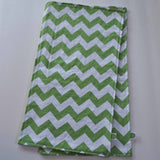Green Chevron Burp Cloth with Green Minky Back