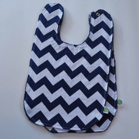 Navy Blue Chevron Baby Bib