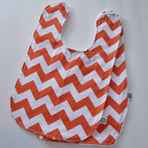 Orange Chevron Baby Bib