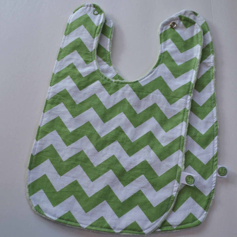Green Chevron Baby Bib