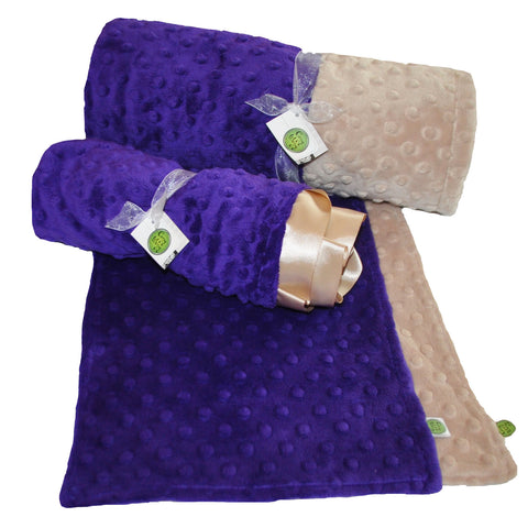 Baby Minky Gift Set Starter Pack... Includes Baby Blanket, Lovie, and 2 burp cloths (Purple and Tan)
