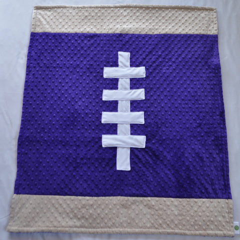 Purple and Tan Football Baby Blanket