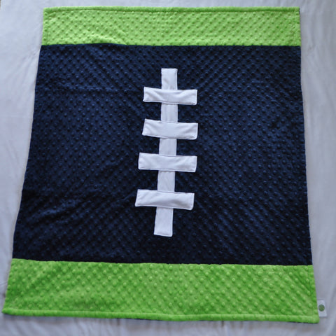 Navy Blue and Lime Football Baby Blanket