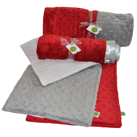 Baby Gift Set Starter Pack... Includes Baby Blanket, lovie, and 2 burp cloths (Crimson Red and Gray)