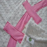 Pink detail on Baseball Baby Blanket