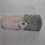 Signature Minky Baby Blanket Pastel Pink and Gray