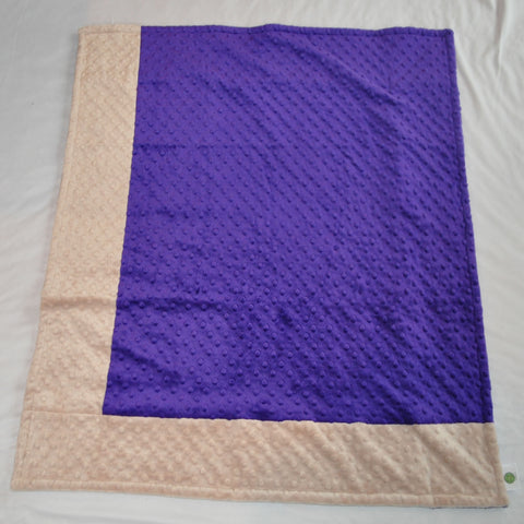 Signature Minky Baby Blanket Sports Purple and Tan