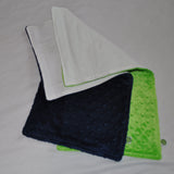 Navy Blue and Lime Green Burp Cloths