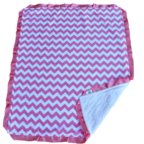 Pink Chevron Blanket with Satin Trim
