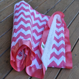 Pink Chevron Blanket w/ trim