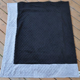 Signature Minky Baby Blanket Sports Color Black and Silver