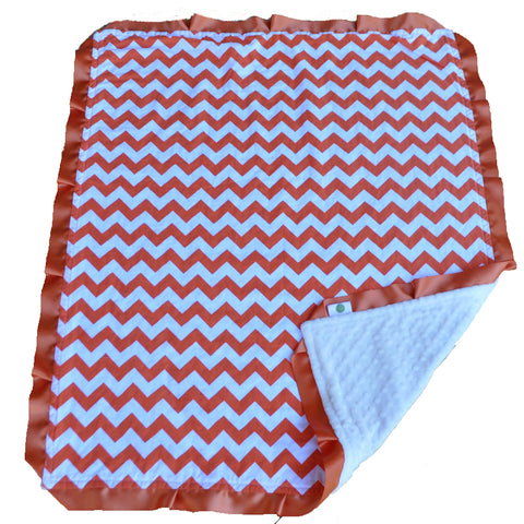 Orange Chevron Blanket With Satin Trim