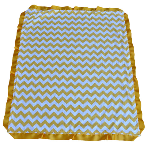 Bright Yellow Chevron Blanket with Trim
