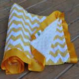 Yellow Chevron Blanket with Satin Trim