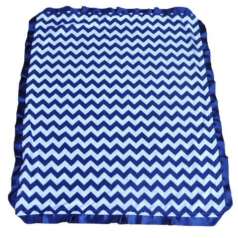 Navy Blue Chevron Blanket with Trim