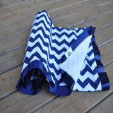 Navy Blue Chevron with White Minky and Satin Trim