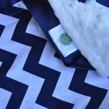 Navy Chevron with Satin Trim