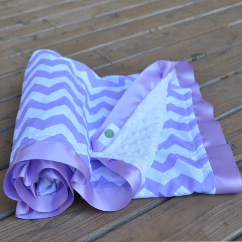 Purple Chevron with White Minky and Satin Trim