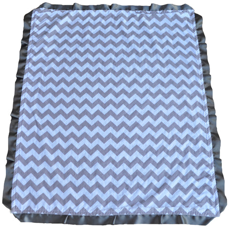 Gray Chevron Blanket with Satin Trim