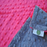 Watermelon Pink and Gray Baby Blanket