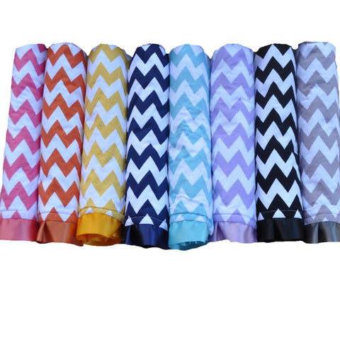 Satin Trim Chevron Blanket with White Minky 7 Color Options