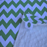 Green and White Chevron Blanket