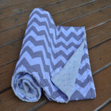 Gray Chevron with White Minky Baby Blanket