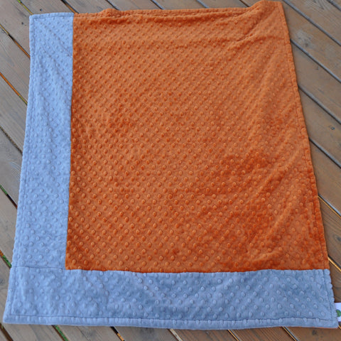 Signature Minky Baby Blanket Sports Orange and Silver