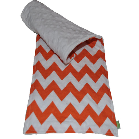 Chevron Cotton Burp Cloth Orange with Minky