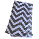 Chevron Minky Burp Cloth Gray backed with Birdseye cotton 2 pack