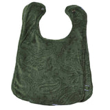 Paisley Minky Baby Bib w/ Cotton Back Green 2 Pack