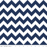 Satin Trim Chevron Blanket in Navy Blue