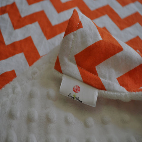 Orange chevron Blanket with White Minky