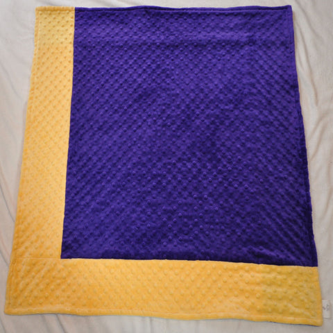 Signature Minky Baby Blanket Sports Purple and Yellow