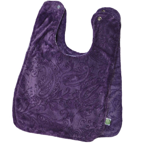 Paisley Minky Baby Bib w/ Cotton Back Purple 2 Pack