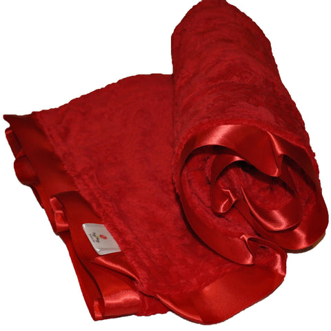 Red Paisley Baby Blanket with satin Trim
