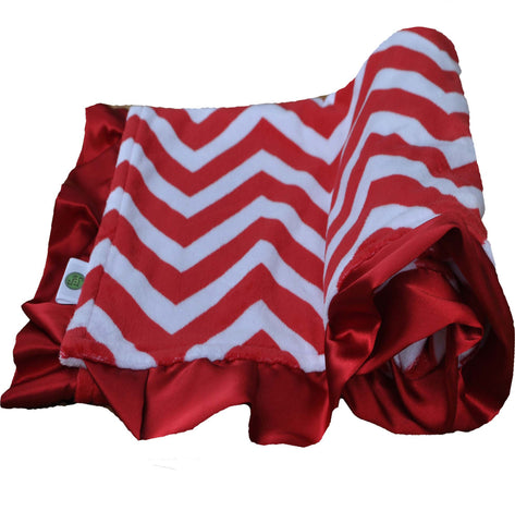 Red and White Chevron Blanket