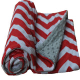 Red and White Chevron Minky Baby Blanket
