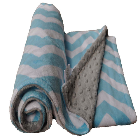 Turquoise and Gray Minky Chevron Blanket