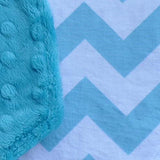 Turquoise Chevron with coordinating Minky
