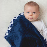 Chevron Blanket Navy with Navy Minky