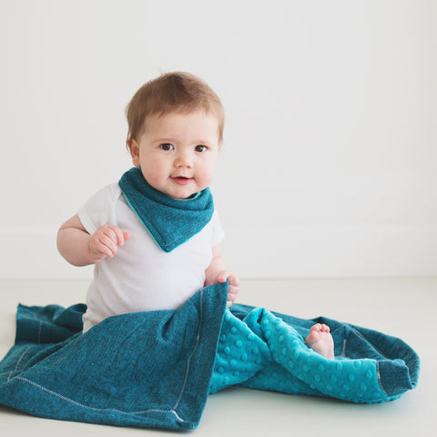 Herringbone Flannel Baby Blanket with Teal Minky and Mietered corners