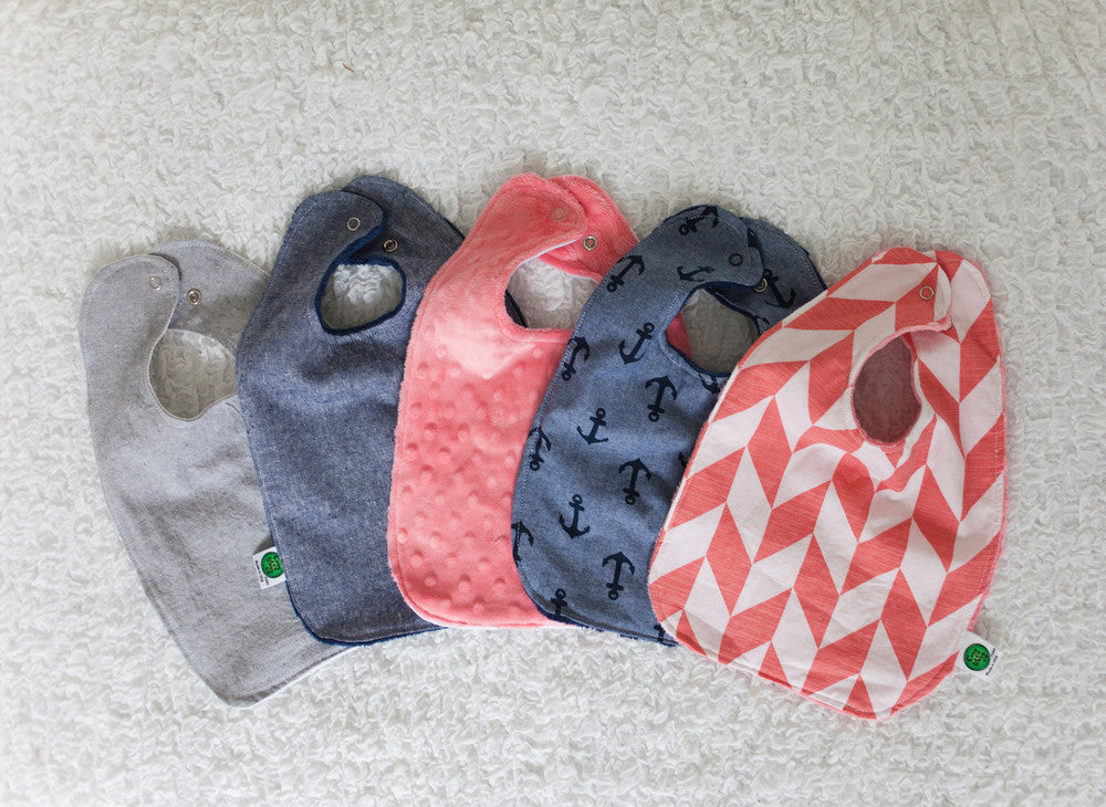 Coral and Denim Bib Collection