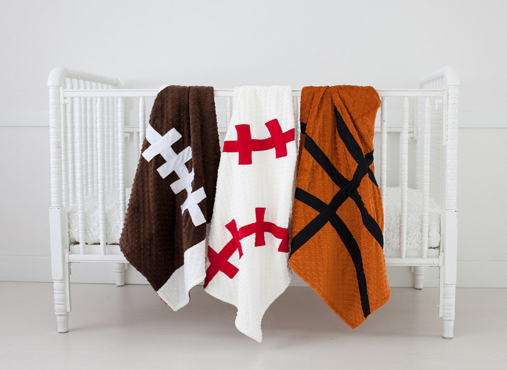 Sports Baby Blanket:  Football, Baseball and Basketball