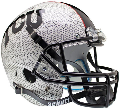 TCU Horned Frogs White Crosshatch Schutt XP Replica Football Helmet
