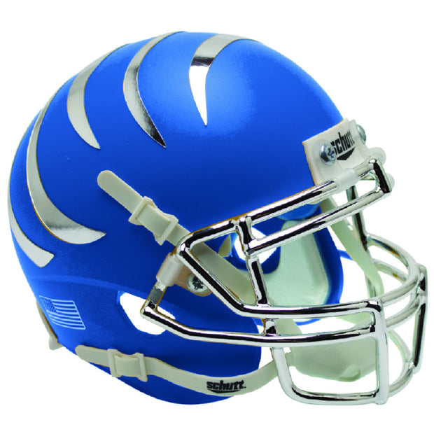 Memphis Tigers Matte Blue Chrome Stripes Schutt Replica Football Helmet