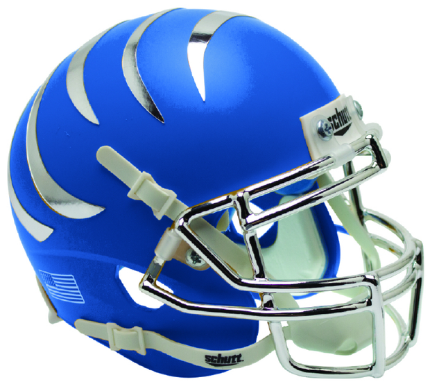 Memphis Tigers Matte Blue Chrome Stripes Schutt XP Authentic Football Helmet