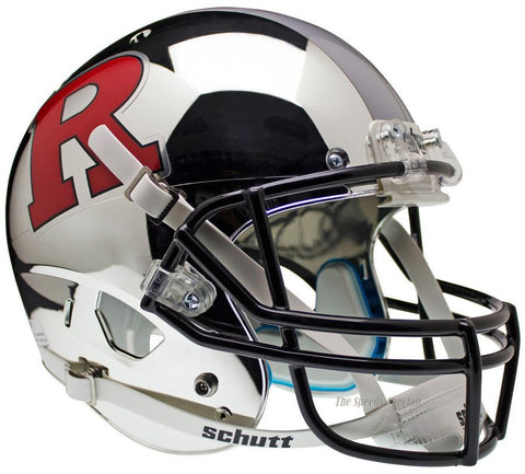 Rutgers Scarlet Knights Chrome Silver Stripe Schutt XP Full Size Replica Football Helmet