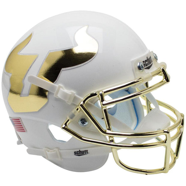 South Florida Bulls White Chrome Grill Schutt XP Authentic Helmet